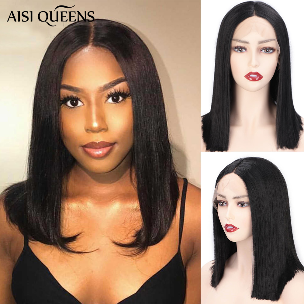 AISI QUEENS Synthetic Lace Front Wig Straight Short Black Bob Wigs Middle Part Nature Wig For White /Black Women