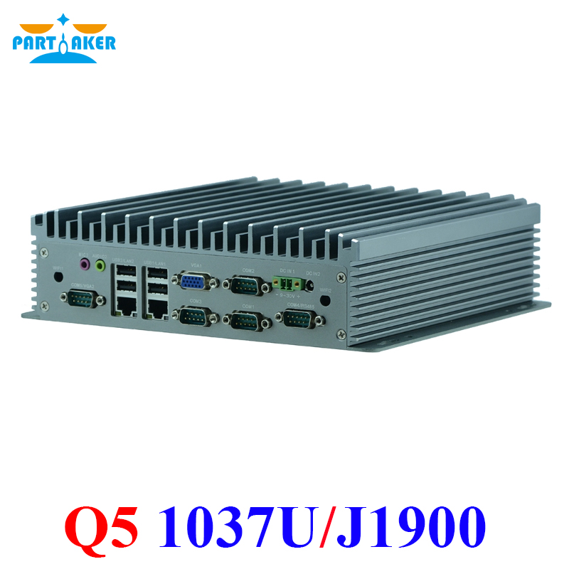 Partaker Q5 X86 Intel Celeron 1037U J1900 Dual Ethernet Rugged Embedded Industrial Computer Fanless Pc With 6 Rs232