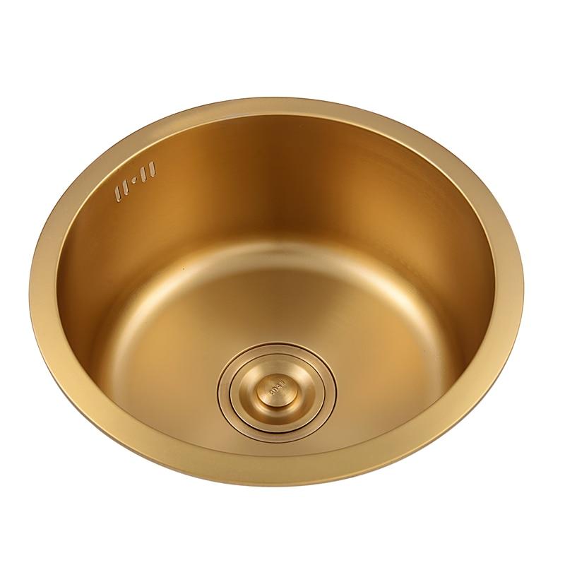 304 Stainless Steel Gold Kitchen Sink Undermount Small Sink Single Slot Balcony Tea Room Bar Kitchen Wash Basin Dishwasher Pool