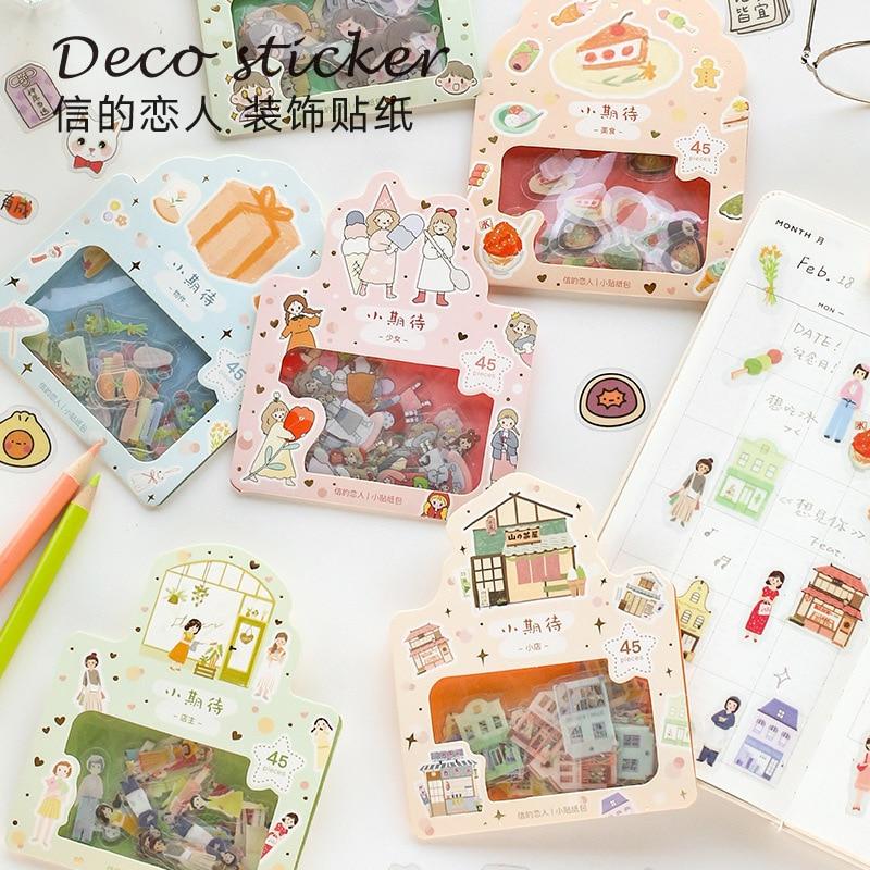 45 Pcs Lovely Cartoon Character Mini Paper Sticker Decoration Diy Ablum Diary Scrapbooking Label Sticker Stationery