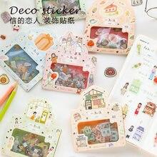 45 Uds adorables personajes de dibujos animados Mini pegatina de papel para decoración Diy Ablum álbum de recortes diario etiqueta pegatina papelería
