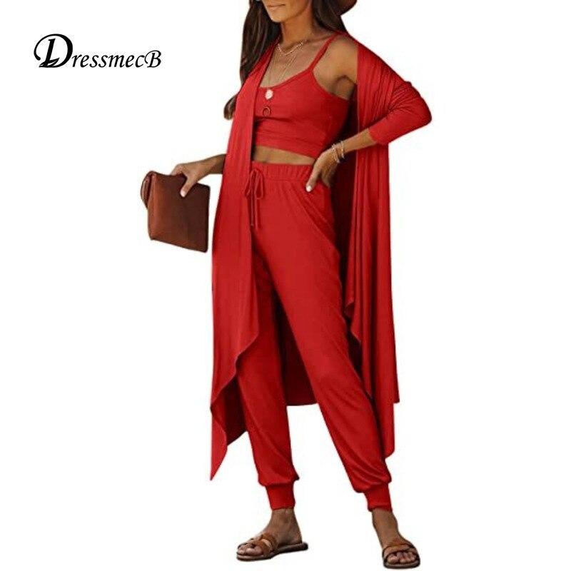 Dressmecb однотонные костюмы из 3 предметов женская одежда на майке и брюки-карандаш осенние костюмы с длинным рукавом Свободные Костюмы из трех...