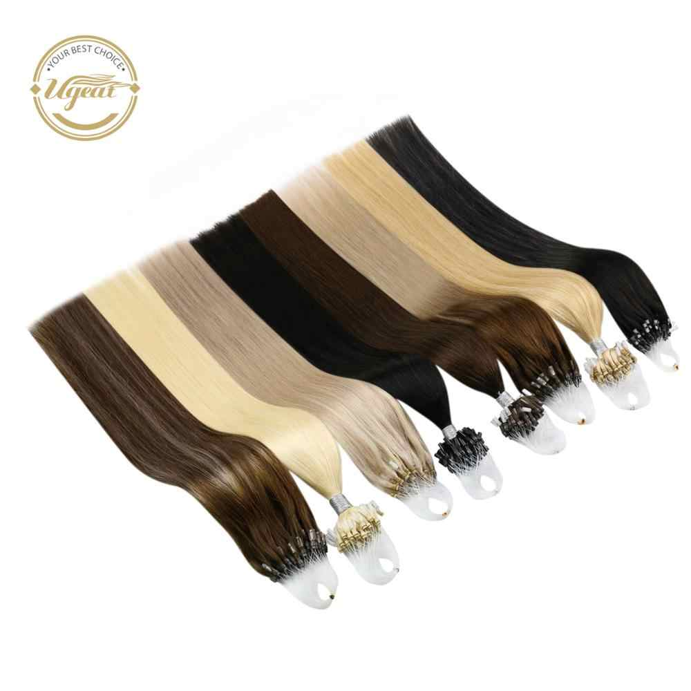 "[21 Kleuren] Ugeat Micro Loop Human Hair Extensions 14-24 ""Machine Remy Haar Micro Ring Haar extensions 1G/1S 50G/100G Set"
