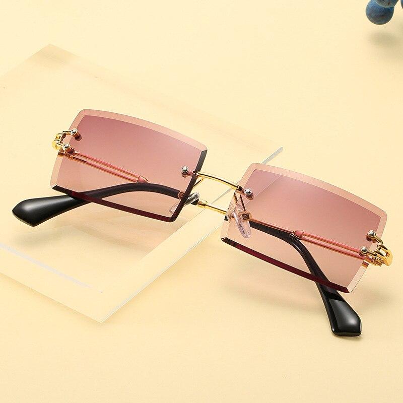2021 Модные солнцезащитные очки для женщин, фирменный дизайн, без оправы градиентный солнечные очки тёмные очки для резки линзы дамы бескарка...