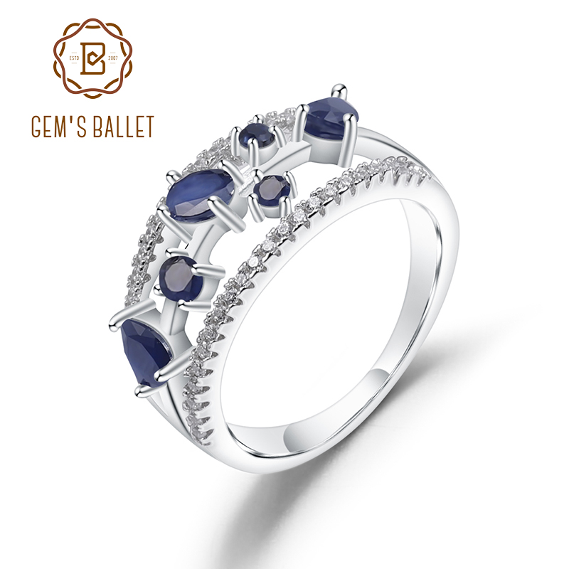 GEM'S BALLET Birthstone of September 0.65Ct Natural Blue Sapphire 925 Sterling Silver Gemstone Rings For Women Fine Jewelry