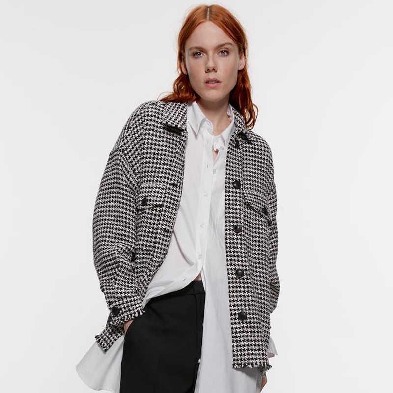 Zoepo Tweed Single Breasted Blus Wanita Fashion Turn Down Kerah Kemeja Wanita Elegan Saku Lengan Panjang Atasan Wanita Wanita Ka