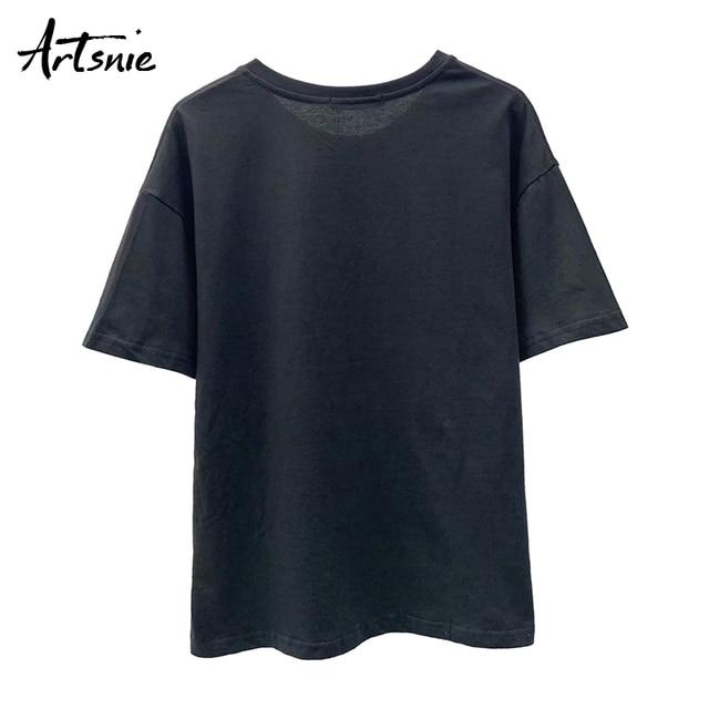 Artsnie dessin animé imprimé femmes t-shirt été 2020 surdimensionné hauts femme streetwear décontracté col rond à manches courtes t-shirt mujer