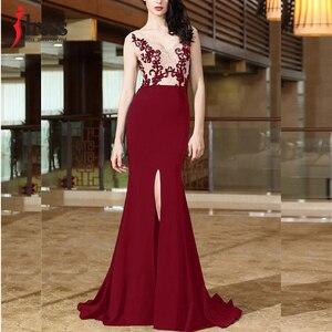 Image 2 - Женское длинное вечернее платье Русалка IDress, элегантное кружевное платье с вышивкой, открытой спиной и разрезом, вечерние платья для выпускного вечера