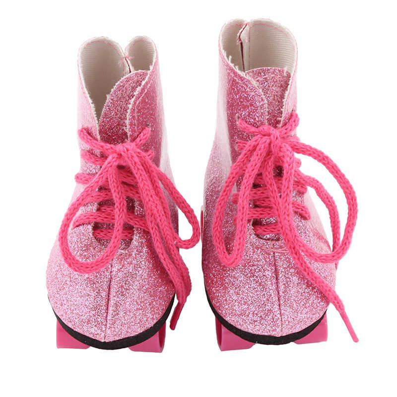 Doll Roller Skates for 18 inch American Doll Boots for 43cm Baby Reborn Dolls Fashion Gifts for Girl Doll Accessories