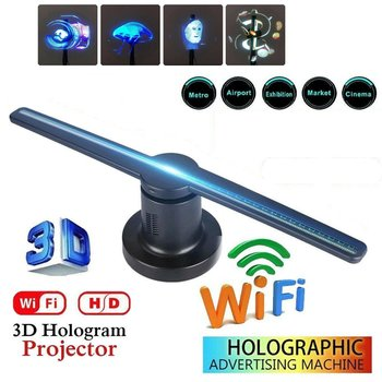 3D LED WiFi Holographic Projector Display Fan Hologram Advertising Imaging Lamp 3D Remote Hologram Player
