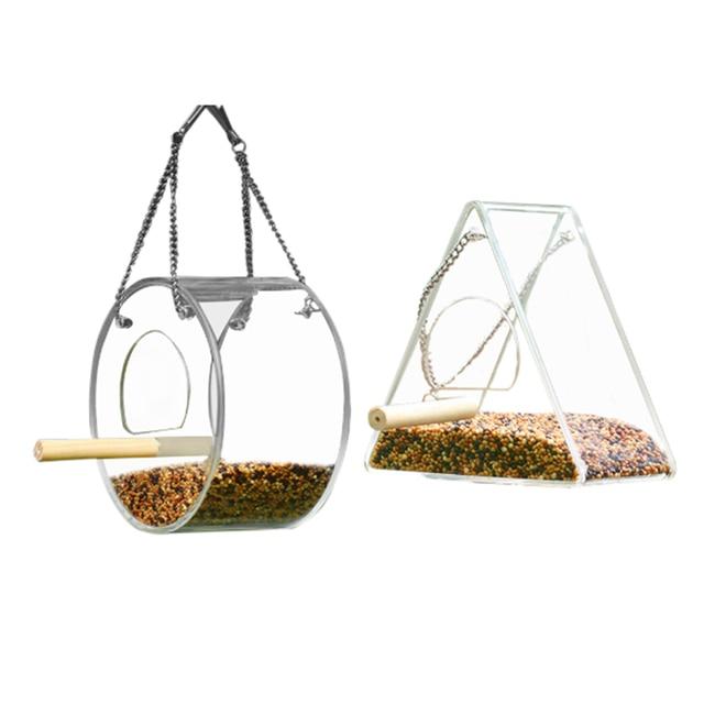 Acrylic Bird Feeder Food Box Pet Bird Cage House Anti-Scatter Parrot Feeder Stand Round Triangle Bird Feeder 5