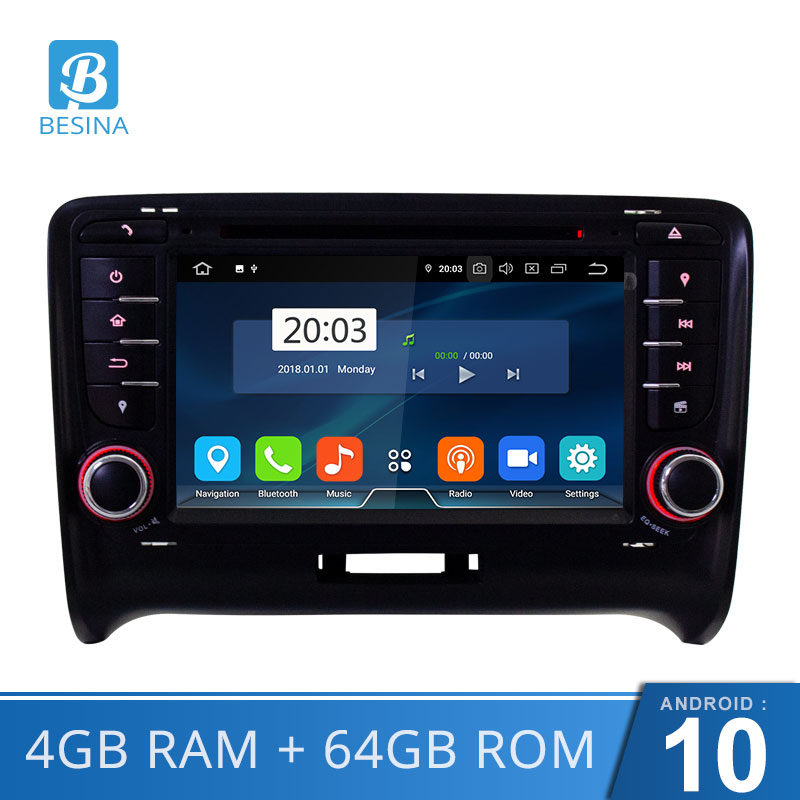 Besina In Dash Android 10 Car DVD Player For AUDI TT TTS Octa Core WIFI GPS Navigation Multimedia Stereo <font><b>2</b></font> <font><b>Din</b></font> Car Radio 4G+64G image
