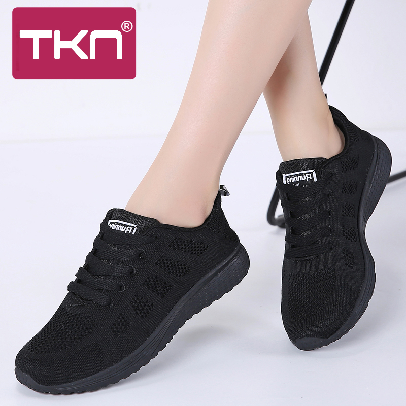 TKN Sneakers Women Flat Shoes Female 2019 Autumn Casual Lace-up Breathable Mesh Sneakers Ladies Shoes Women Walking Shoes A08
