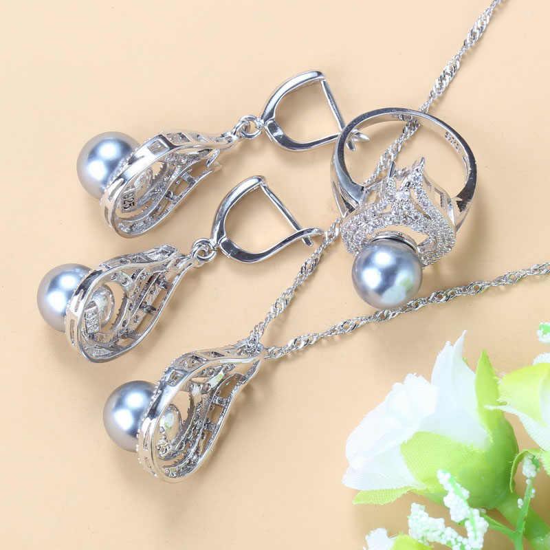 Amazing Silver 925 Nước Ngọt Tự Nhiên Xám Ngọc Trai Bộ Trang Sức Nữ Cô Dâu Trang Phục Tòn Ten Hoa Tai Vòng Cổ Cưới Bộ