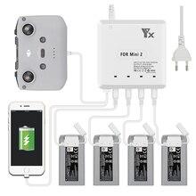 Mavic mini 2 carregador de carga 4 baterias por 70 minutos porta usb controle remoto carregamento para dji mavic mini 2 zangão acessórios