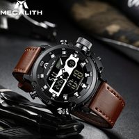 Relogio Masculino 2019 MEGALITH Men's Dual Dispay Watch Men Multifunction Waterproof Luminous Sport Quartz Wristwatches Men 8051
