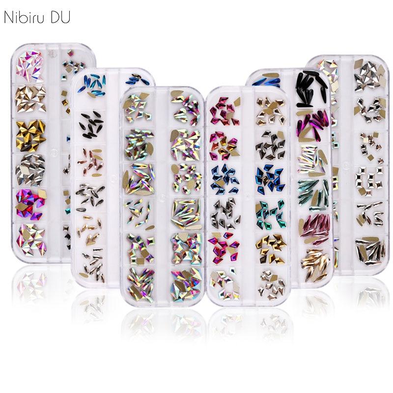 120pcs/Box Colorful Crystal AB Nail Art Rhinestones Send Tweezers Multi-Shape Glitter Stones 3D Crystal DIY Nail Art Decorations
