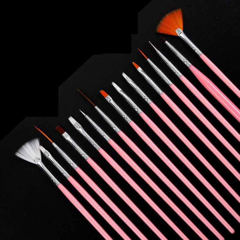 15pcs Pro UV Gel Acryl Nail Art Brush Pen Set Ontwerp Gel Polish Schilderen Dust Poeder Pen Manicure Nagels tips Liner Gereedschap Kit