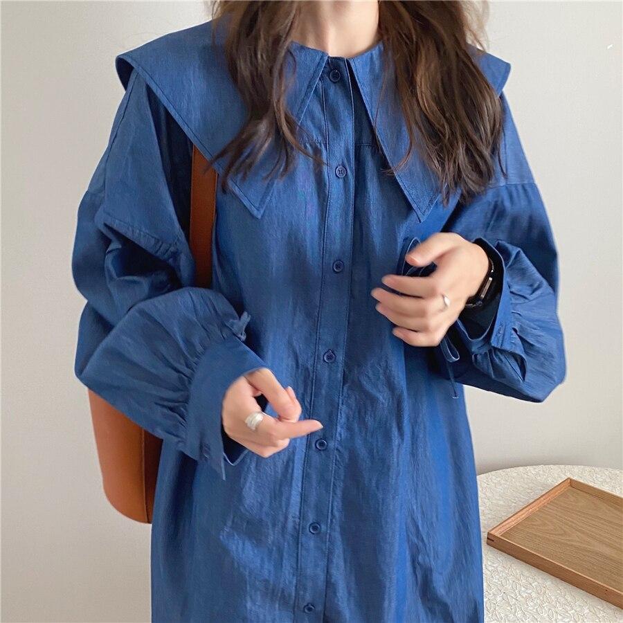 H17a53febee1845f88b1aa1236753dadeC - Autumn Korean Big Lapel Collar Long Sleeves Drawstrings Solid Mini Dress