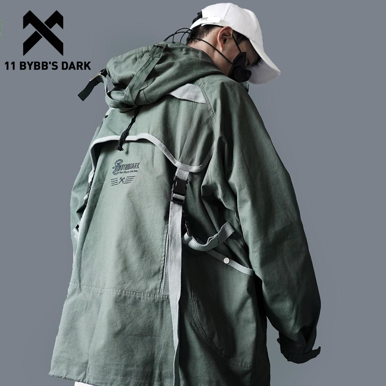 11 BYBB'S DARK Hip Hop Cargo Jackets Men 2019 Letter Printed Autumn Casual Streetwear Harajuku Ribbons Pockets Turtleneck Coats