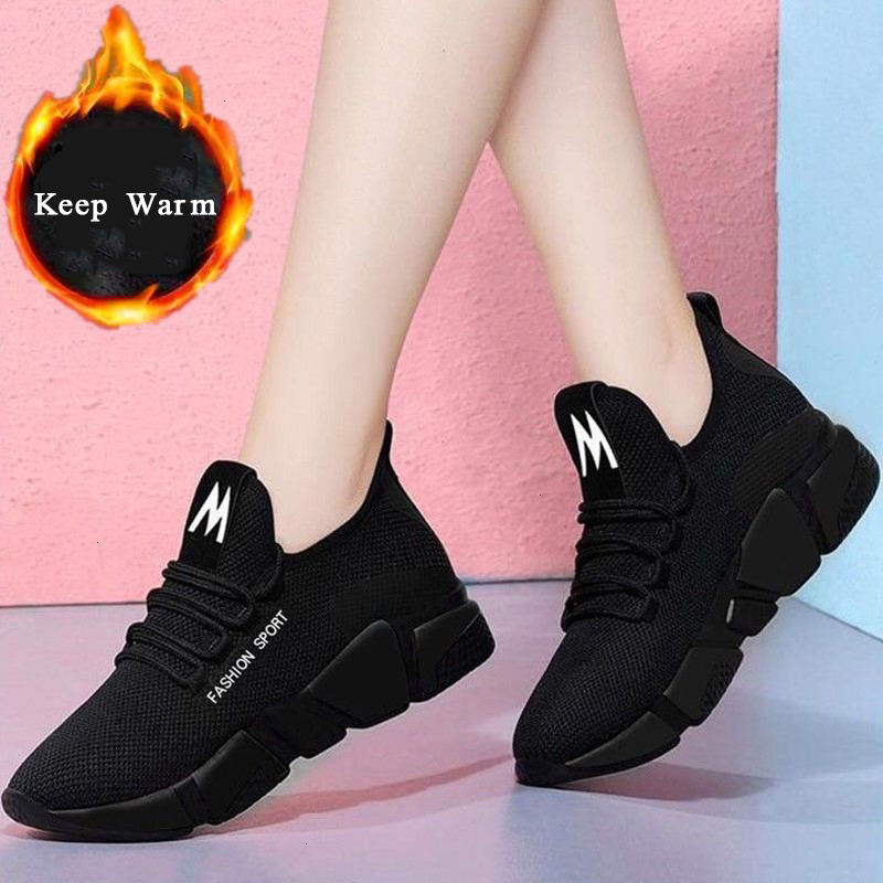 New Platform Sneakers Women Shoes Mesh Vulcanized Slip On Breathable Girl Running Shoes Ladies Casual Soft Plus Velvet Black