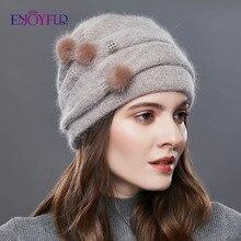 ENJOYFUR kobiety zimowy kaszmirowy, dzianinowy kapelusz naturalny norek pompon pasek dziewczyna bonnet moda ciepły kobieta odkryty nowy marka czapki