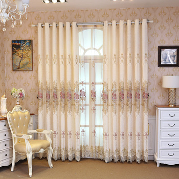 Embroidered Curtain European-Style Curtain Chenille Velvet Padded Curtain Living Room Bedroom Children's Room Curtain