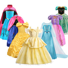 3-10 Years Anna Elsa Dress Girl Halloween Birthday Party Princess Costume Children Rapunzel Mermaid Belle Fancy Outfit Clothes