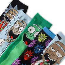 Rick e modi meias médias meias masculinas/femininas algodão dos desenhos animados personalidade meias euro americano skate meias
