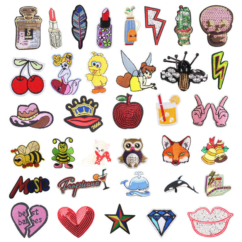 Animal Elf Iron On Embroidery Patches Cute DIY Creative Badges Hot Transfer Stickers Sew On Clothes Denim Sequin Appliques F