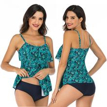 Women's Ruffle Layered Two Piece Swimsuits Adjustable Bathing Suits Elastic Swimwear Soft Bikini Top High Waisted Stretch Bottom