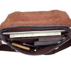 Image 5 - Мужской портфель, сумка из натуральной кожи и холста, Лоскутная мужская сумка мессенджер, винтажная брендовая мужская сумка на плечо для ноутбука, дорожная сумка
