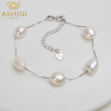 ASHIQI Genuine 925 Sterling Silver Bracelet 9-10mm White Gray Natural Freshwater Baroque Pearl Jewelry For Women