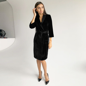 HiLoc-túnicas de terciopelo Burdeos para mujer, ropa de dormir de invierno, bata de baño cálida de manga de tres cuartos negra, ropa de hogar para mujer
