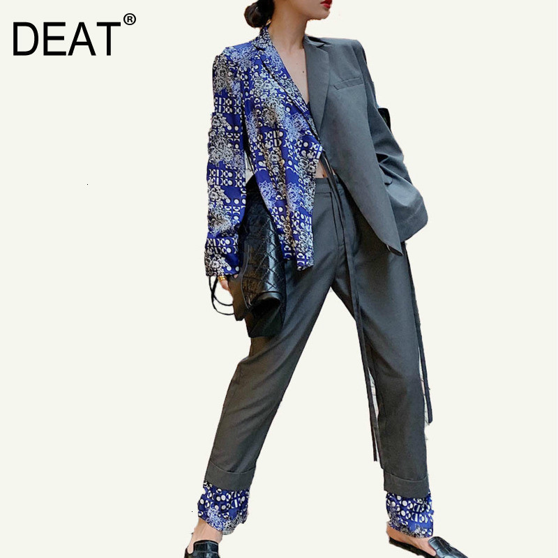 DEAT 2020 New Turn-down Collar Full Sleeved Printed Waist Blets Blazer Spring And Full Length Office Lady Pants Set WJ77705L