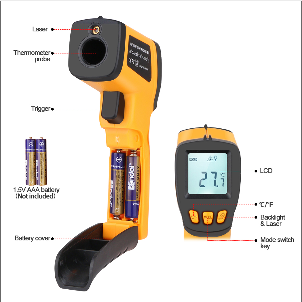 Image 3 - RZ Digital Non Contact Infrared Thermometer Mini Laser IR 