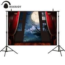 Allenjoy фон для фотографий Хэллоуин красный занавес Окно Луна