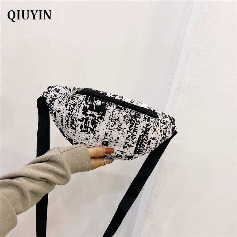 Qiuyin Premium Hip Hop Bag Chest Pack Men's Waist Bag Nylon Oxford Cloth Zip Pouch Shoulder Bag Streetwear New Chic Money Stash
