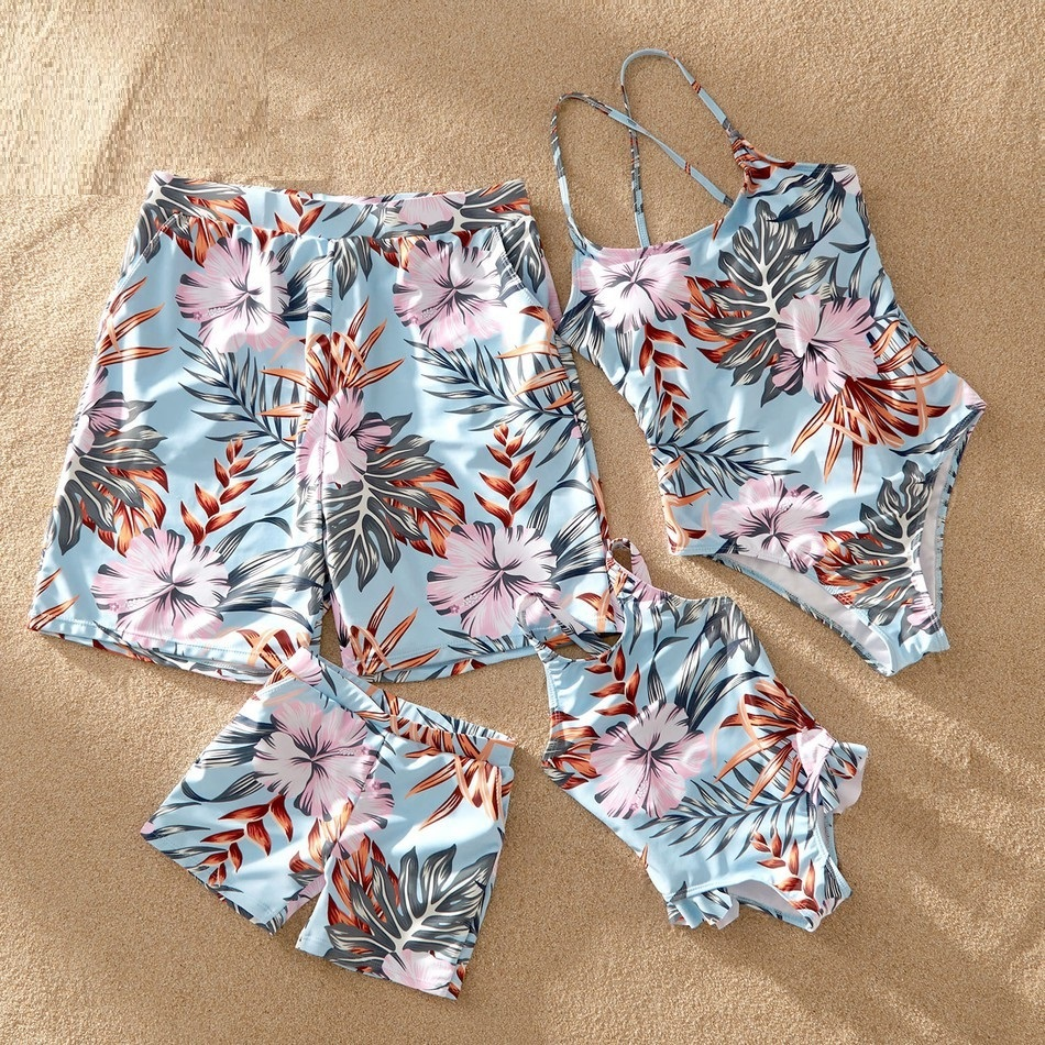 Leaf Swimsuits Family Look Mother Daughter Matching Swimwear Father Son Swim Shorts Mommy Dad And Me Beachwear Clothes Outfits
