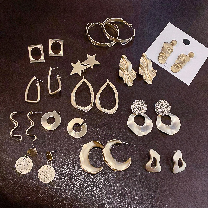 Origin Summer Multi Designs Gold Geometric Irregular Star Dangle Earings for Women Simple Metal Hollow Out Earings Jewelry