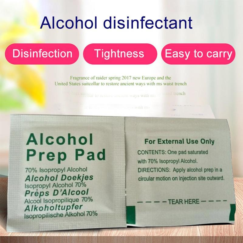 100pcs/bag Alcohol Swabs Pads Wipes Antiseptic Cleanser Cleaning Sterilization Alcohol Prep Pad First Aid Disinfectant Wet Wipes