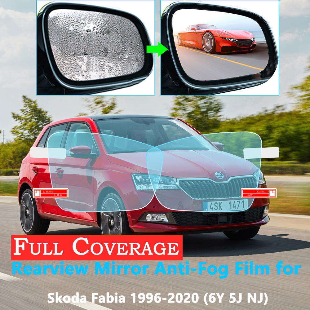 Full Cover Protective Film For Skoda Fabia 1 2 3 6y 5j Nj MK1 MK2 MK3 1999~2020 Car Rearview Mirror Rainproof Anti-Fog Stickers