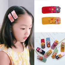 M MISM 1pc Cute Flower Hair Clips Baby Girls Winter Headwear Wool BB Geometric Barrettes Hairpins Children Accessories