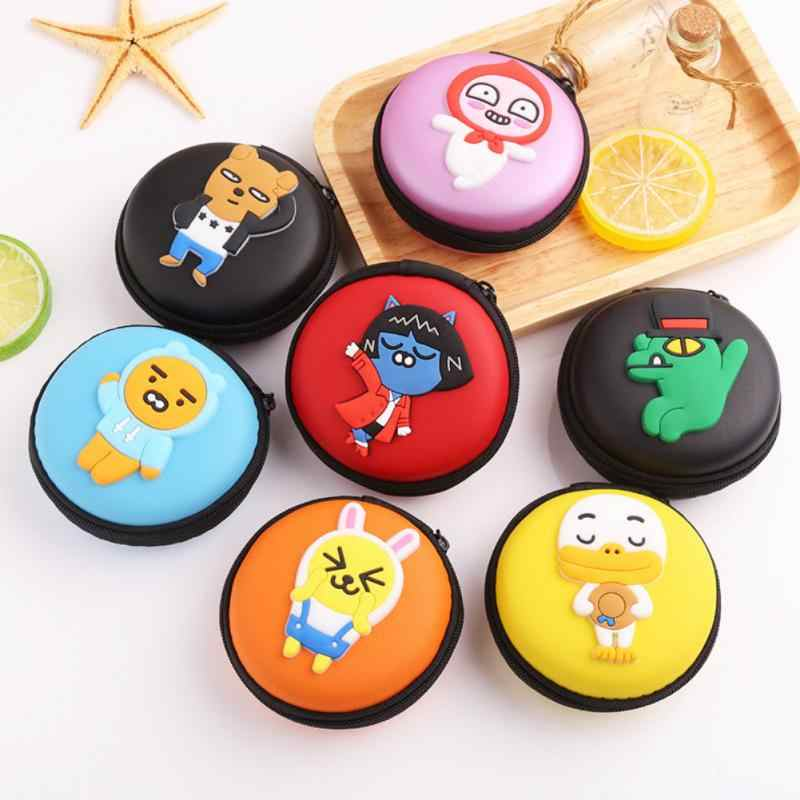 Mr Cartoon Mini Zipper Hard Headphone Holder Case Portable Earbuds Pouch box Earphone Storage Bag Protective USB Cable Organizer
