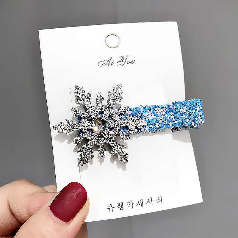 Christmas Snowflake Hair Accessories Crystal Hair Clips Rope Women Winter Hair Ties Girls Princess Hairpins Blue Scrunchies