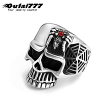 oulai777 men big skull ring stainless steel fashion jewelry 2019 black punk Gothic large Ring wide signet Spider web animal red oulai777 signet ring men tainless silver jewelry signet ring men s punk finger fashion hip hop gothic ring men accesories