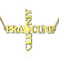 Personalized Nameplate Two Names Cross Necklace Necklaces Custom Letter Chain Women with Heart In Gold for Christian