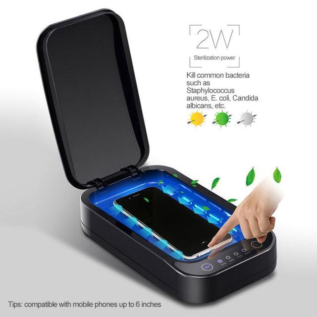 UV Disinfection Box Sanitizer Charger Prevent Flu For iPhone/Samsung Mobile Phone Headphones Mask Sterilizer Kill 99.9% Viruses 1