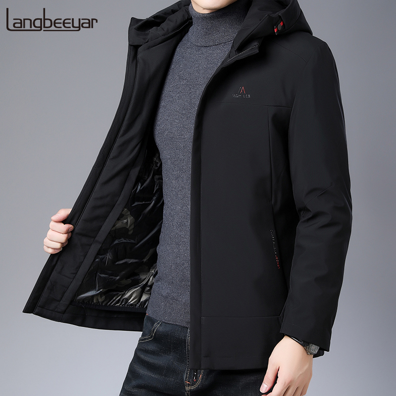 Top Grade 2019 Winter Fashions Brand Down Jackets Men's Hooded Korean Streetwear Feather Coats Duck Down Warm Mens Clothing
