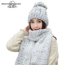 New Winter Womens Hat Set Scarf Ladies Thick Wool Knitted And Sets Women High quality Accessories